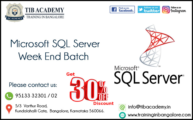 SQL Server Training in Bangalore Offer